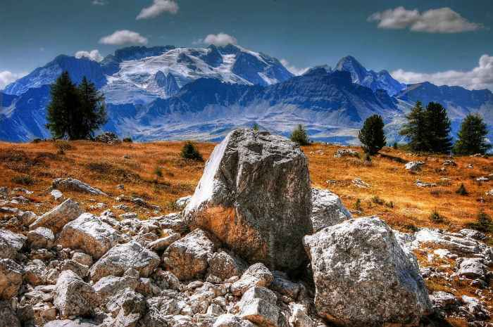 adventure boulders clouds daylight